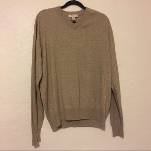 Turnbury Silk Cashmere Cable Knit Sweater V-Neck